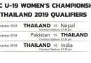 """โปรแกรมการแข่งขัน """"AFC U-19 Women's Championship Thailand 2019 Qualifiers"""""""